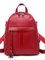 Недорогие -Жен. Мешки PU рюкзак Однотонные Черный / Красный