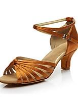abordables -Femme Chaussures Latines Satin Talon Ruban Talon Cubain Personnalisables Chaussures de danse Or / Noir / Marron