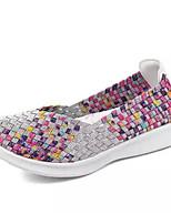 Недорогие -Жен. Комфортная обувь Синтетика Лето На плокой подошве На плоской подошве Черный / Серебряный / Цвет радуги