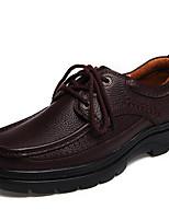Недорогие -Муж. Кожаные ботинки Кожа Осень Винтаж / На каждый день Туфли на шнуровке Массаж Черный / Коричневый