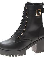 Недорогие -Жен. Fashion Boots Полиуретан Наступила зима На каждый день Ботинки Блочная пятка Круглый носок Сапоги до середины икры Черный / Винный