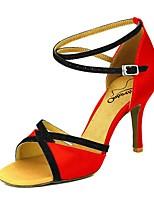 baratos -Mulheres Sapatos de Dança Latina Cetim Salto Salto Alto Magro Sapatos de Dança Rosa claro / Amêndoa / Nú