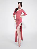 baratos -Dança do Ventre Vestidos Mulheres Espetáculo Elastano / Renda Purpurina / Com Fenda Meia Manga Vestido