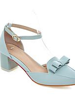 Недорогие -Жен. Балетки Полиуретан Весна Обувь на каблуках На толстом каблуке Белый / Розовый / Светло-синий