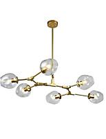 abordables -6 têtes du nord de l'europe moderne lustre doré transparence molécules de verre pendentif vintage lumières salon chambre salle à manger