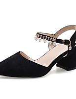 Недорогие -Жен. Комфортная обувь Замша Лето Обувь на каблуках На толстом каблуке Черный / Розовый / Миндальный