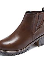Недорогие -Жен. Fashion Boots Полиуретан Осень На каждый день Ботинки На толстом каблуке Сапоги до середины икры Черный / Темно-коричневый