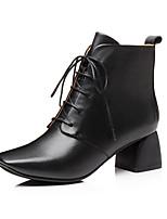 Недорогие -Жен. Fashion Boots Наппа Leather Осень Ботинки Блочная пятка Закрытый мыс Ботинки Черный / Темно-русый
