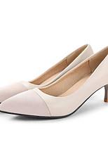 Недорогие -Жен. Балетки Замша Осень Обувь на каблуках На шпильке Бежевый / Красный / Розовый