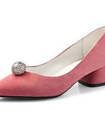 baratos -Mulheres Sapatos Confortáveis Camurça Verão Saltos Salto Robusto Preto / Marron / Rosa claro