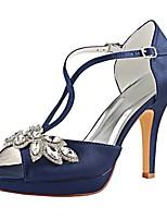 baratos -Mulheres Stiletto Cetim Verão Sapatos De Casamento Salto Agulha Peep Toe Gliter com Brilho / Presilha Azul Escuro / Festas & Noite