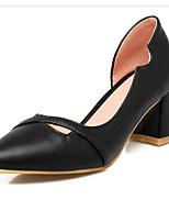 Недорогие -Жен. Комфортная обувь Полиуретан Весна Обувь на каблуках На толстом каблуке Черный / Серебряный / Красный