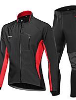 Недорогие -Nuckily Велокуртка и брюки - Черный / красный / Черный / зеленый / Черный / синий Велоспорт С защитой от ветра, Зима, Спандекс Пэчворк