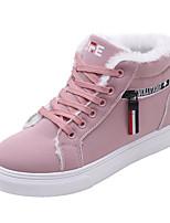 baratos -Mulheres Sapatos Confortáveis Couro Ecológico Outono Casual Tênis Sem Salto Ponta Redonda Preto / Marron / Rosa claro / Slogan
