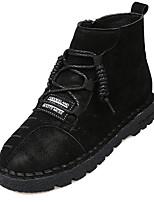 Недорогие -Жен. Fashion Boots Полиуретан Осень Ботинки На плоской подошве Круглый носок Ботинки Черный / Темно-серый / Темно-русый