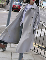Недорогие -женская длинная пальто - сплошной цветной воротник