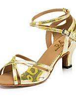 abordables -Femme Chaussures Latines Faux Cuir Talon Petite tache / Fantaisie Talon Bobine Chaussures de danse Or / Gris Foncé / Blanc / argent