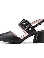 Недорогие -Жен. Комфортная обувь Микроволокно Весна Обувь на каблуках На толстом каблуке Белый / Черный / Красный