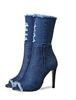 Недорогие -Жен. Cowboy / Western Boots Деним Весна лето Винтаж Ботинки На шпильке Круглый носок Сапоги до середины икры С кисточками Синий