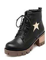 Недорогие -Жен. Fashion Boots Полиуретан Зима Ботинки Блочная пятка Закрытый мыс Ботинки Черный / Желтый / Красный