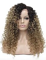 Недорогие -Синтетические кружевные передние парики Kinky Curly Боковая часть Искусственные волосы 24 дюймовый 100% волосы канекалона Светло-коричневый Парик Жен. Длинные Бесклеевая кружевная лента