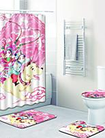 Недорогие -1 комплект Мультяшная тематика Коврики для ванны 100 г / м2 полиэфирный стреч-трикотаж Животное Прямоугольная Ванная комната Милый