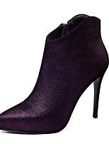 Недорогие -Жен. Fashion Boots Овчина Осень Ботинки На шпильке Закрытый мыс Ботинки Лиловый / Синий