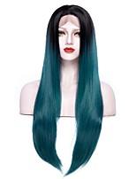 Недорогие -Синтетические кружевные передние парики Жен. Естественный прямой Зеленый Средняя часть / С пушком 150% Человека Плотность волос Искусственные волосы 24-26 дюймовый / Лента спереди / Да