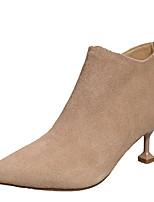 Недорогие -Жен. Fashion Boots Полиуретан Осень На каждый день Ботинки На каблуке-рюмочке Сапоги до середины икры Черный / Бежевый