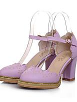 Недорогие -Жен. Комфортная обувь Полиуретан Лето Обувь на каблуках На толстом каблуке Лиловый / Розовый / Миндальный