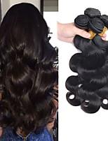 Недорогие -4 Связки Бразильские волосы Естественные кудри 8A Натуральные волосы Головные уборы Человека ткет Волосы Удлинитель 10-28 дюймовый Естественный цвет Ткет человеческих волос Машинное плетение