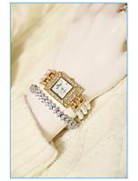 Недорогие -Жен. Наручные часы Кварцевый Имитация Алмазный Группа Аналоговый Мода Золотистый - Золотой / Нержавеющая сталь