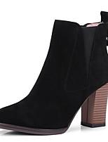 Недорогие -Жен. Fashion Boots Замша Осень Ботинки На толстом каблуке Закрытый мыс Ботинки Черный / Серый / Миндальный