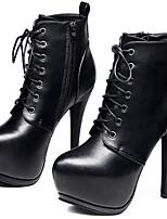 Недорогие -Жен. Fashion Boots Синтетика Наступила зима Минимализм Ботинки Платформа Сапоги до середины икры Черный / Для вечеринки / ужина