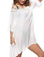 abordables -Femme Basique Licou Blanc Noir Jupe Vêtement couvrant Maillots de Bain - Couleur Pleine Dentelle Taille unique / Sexy