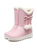 baratos -Mulheres Fashion Boots Couro Ecológico Outono & inverno Botas Sem Salto Branco / Preto / Rosa claro