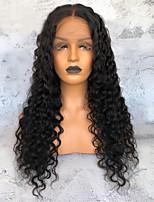 Недорогие -Необработанные натуральные волосы Лента спереди Парик Бразильские волосы Свободные волны Черный Парик Глубокое разделение 150% Плотность волос Черный Жен. Длинные