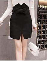 Недорогие -женский выход на юбку с карандашом длиной до колена - сплошной цвет