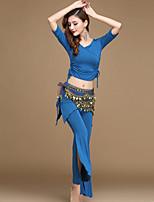 abordables -Danse du ventre Tenue Femme Entraînement / Utilisation Modal Ruché / Bandeau Demi Manches Taille haute Haut / Pantalon