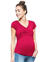 Недорогие -женская футболка - сплошной цветной шея