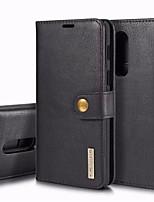 Недорогие -Кейс для Назначение OnePlus OnePlus 6 Бумажник для карт / Защита от удара / Флип Чехол Однотонный Твердый Настоящая кожа для OnePlus 6