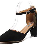 Недорогие -Жен. Комфортная обувь Замша Весна лето Обувь на каблуках На толстом каблуке Черный / Бежевый