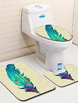 Недорогие -3 предмета Modern Коврики для ванны 100 г / м2 полиэфирный стреч-трикотаж / Коралловый Геометрический принт нерегулярный Ванная комната Новый дизайн