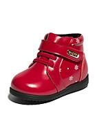Недорогие -Девочки Обувь Кожа Зима Обувь для малышей Кеды На липучках для Дети (1-4 лет) Черный / Красный