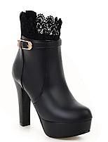 Недорогие -Жен. Fashion Boots Полиуретан Зима Ботинки На толстом каблуке Закрытый мыс Ботинки Белый / Черный