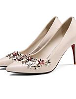 Недорогие -Жен. Комфортная обувь Наппа Leather Осень Обувь на каблуках На шпильке Черный / Бежевый