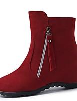 Недорогие -Жен. Fashion Boots Полиуретан Зима На каждый день Ботинки Туфли на танкетке Сапоги до середины икры Черный / Красный