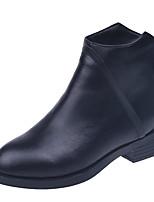 Недорогие -Жен. Ботильоны Полиуретан Наступила зима На каждый день Ботинки На низком каблуке Круглый носок Ботинки Черный