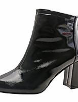 Недорогие -Жен. Fashion Boots Полиуретан Осень Минимализм Ботинки На толстом каблуке Сапоги до середины икры Черный / Бежевый