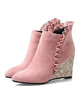 Недорогие -Жен. Fashion Boots Микроволокно Осень Ботинки Туфли на танкетке Закрытый мыс Ботинки Коричневый / Красный / Розовый